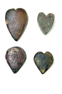 Lot of 4 Ancient Roman heart Shape Bronze Weights c.1st -2nd century AD.