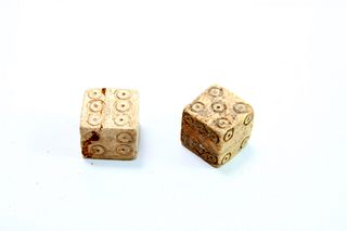 A Pair of Ancient Roman Bone Dice c.1st-2nd century AD.