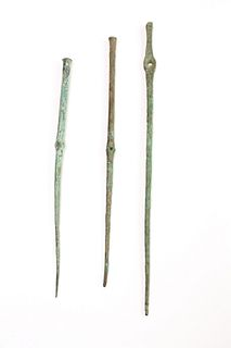 Lot of 3 Ancient Roman Bronze Needles c.1st century AD.