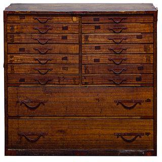 Japanese Tansu Kiri Wood Cabinet