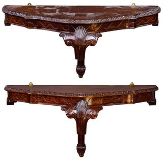 Mahogany Demilune Wall Mounted Console Tables