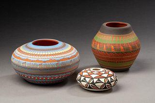 Three Native American Pottery Vases.