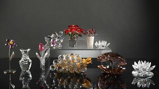 10 Boxed Swarovski Crystal Flowers