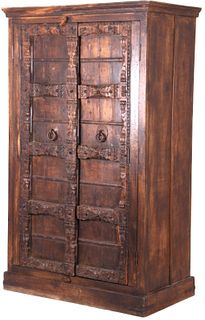Old World Carved Wood & Wrought Iron Panel Cabinet