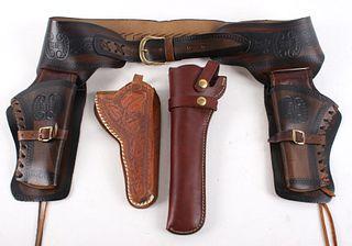Hand Made Double Gun ammo Belt & Pistol Holsters