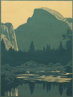 "Franz Geritz Woodblock Print ""Half Dome - Yosemite"""