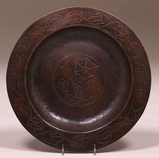 Arts & Crafts Hammered Copper Acid-Etched Tray c1910