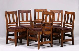 Set of 6 Stickley Brothers Dining Chairs c1910