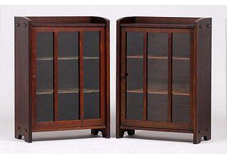 Pair Charles Stickley Short One-Door Bookcases c1910