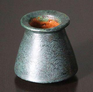 Merrimac Pottery Flared Dark Matte Green Cabinet Vase