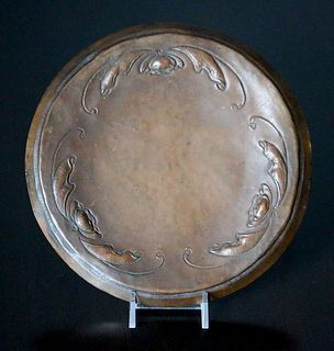 Arts & Crafts Hammered Copper Floral Repousse Tray