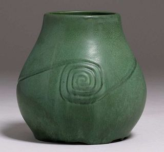 Hampshire Pottery Matte Green Bulbous Vase c1910