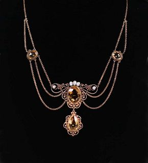 Boston Arts & Crafts 14k Gold Necklace Pearls &