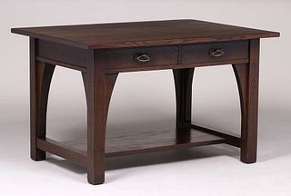 Limbert Two-Drawer Library Table c1905