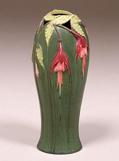 Contemporary Ephraim Faience Carved Floral Vase