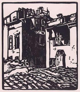 "William Rice Woodblock ""Roman Housetops"""