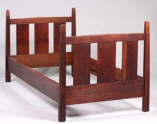 Gustav Stickley Pencil-Post Twin Bed c1910