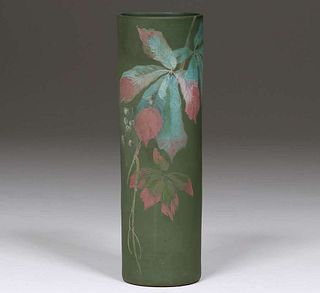 """Radford Pottery Matte Green """"Thera"""" Floral Cylinder"""
