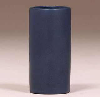 Early California Faience Matte Blue Cylinder Vase
