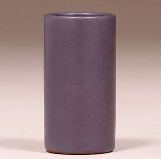 California Faience Matte Lavendar Cylinder Vase