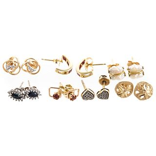 A Collection of Stud Earrings in 14K & 10K