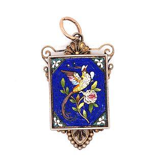 Victorian Silver Bird Micromosaic Pendant