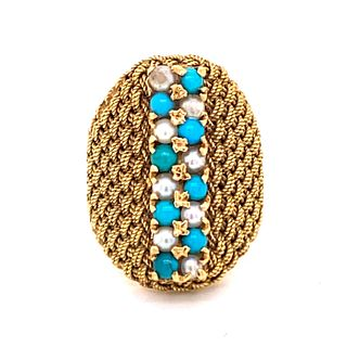 Retro 18k Gold Turquoise Pearl Ring