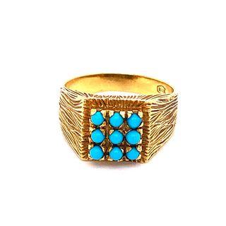 Retro 18k Gold Turquoise Ring