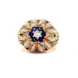 Retro 18k Gold Diamond & Sapphire Ring