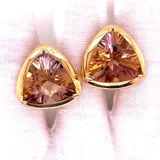 14k Triangle Shape Topaz Earrings