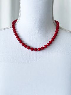 Red Coral Silver Antique Bead Necklace