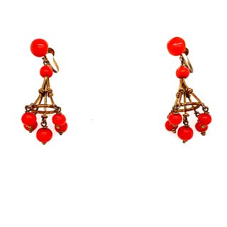 Victorian Coral Gilt Silver Earrings