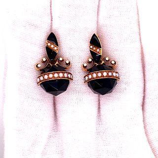 Victorian 14k Onyx Pearl Earrings