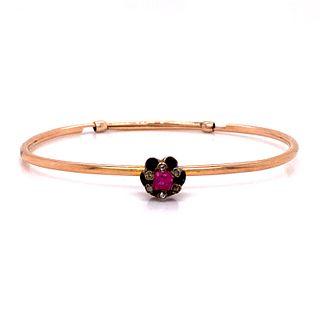 Victorian 14k Gold Ruby Bangle Bracelet