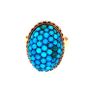 Victorian Turquoise 10&14k Ring