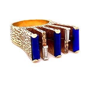 Avant Garde 14k Lapis-lazuli Diamond Ring