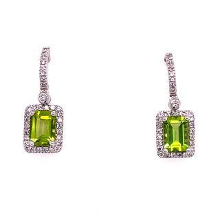 14k Peridot Diamond Earrings
