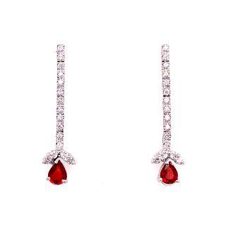 18k Garnet Diamond Earrings