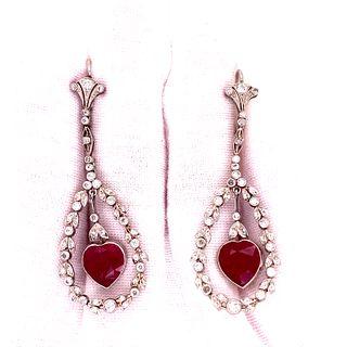 Platinum Rubies Diamond Earrings