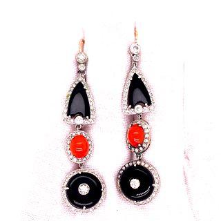 Platinum Onyx Coral Diamond Earrings
