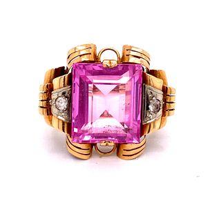 Retro 18k Diamond Pink Turmaline Ring