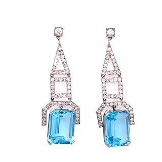 Art Deco Platinum Diamond Aqua Earring