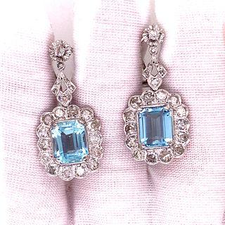 Platinum Aqua Diamond Rosetta Earrings