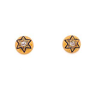 Victorian 18k Diamonds Enamel Earrings