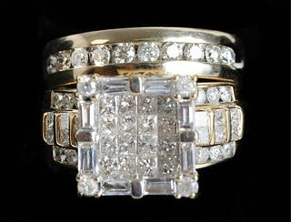 Wedding Set 14K YG Diamond Ring & Band Set