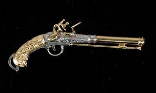 14K YG & 925 Pistol Revolver Gun Pendant