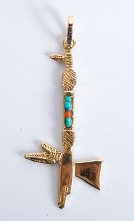14K YG, Turquoise & Coral Tomahawk Pendant