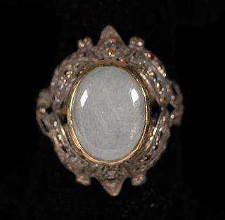 Vintage 18K & Sterling Silver Moonstone Ring
