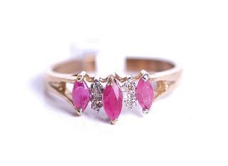 10K Yellow Gold Ruby & Diamond Ring, NWT