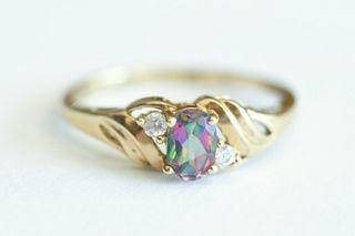 10K Yellow Gold Mystic Topaz Ring, Size 7